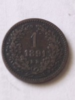 F. J. 1 krajcár. 1891.KB.Fiume.