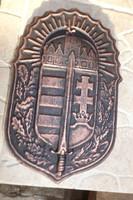 Ritka Nagy 28cm Fém öntvény Vitézi rend Vitéz címer pajzs Hőálló kemence kapu dísz