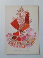 Retro húsvéti képeslap  kakasos rajzos levelezőlap