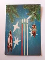 Retro karácsonyfadíszes képeslap 1971 űrhajó műhold űrkorszak