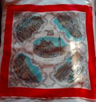 Selyem kendő, Róma nevezetességeivel, 47 x 49 cm