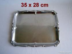ET_02 Régi süteményes vagy szendvicses fém tálca nagy méretű  35 x 28 cm súlyos darab