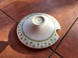Alföldi porcelán retro levesestál fedő Zöld lóhere mintás