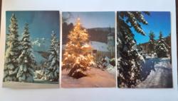 Retro képeslap havas fenyők templom 3 db