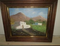 """Molnár C.Pál- """"Tunisz"""" Vastag fa kerettel, gyönyörű, olaj- vászon festmény 32x24cm"""
