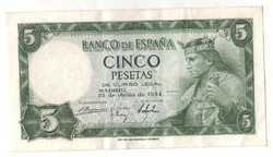5 peseta 1954 Spanyolország 2.