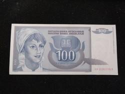 Hajtatlan Jugoszláv 100 Dínár 1992