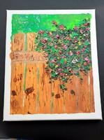 Kerítés virágokkal - olajfestmény