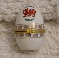 Faberge jellegű Ékszertartó porcelán tojás Wales