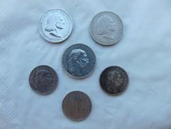 Ezüst 2 korona - 1 korona - 2 pengő 6 darab LOT !!!