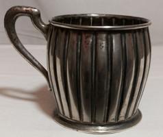 Nagy méretű, jelzett, antik ezüst teás pohártartó, üvegbetét nélkül – 13.