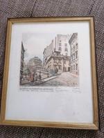 Henry Goering színes rézkarc, Bécs, '30-as évek, Schubert művével, szignált, jó állapotú
