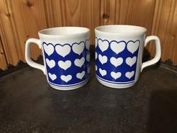 2 db angol Staffordshire England szíves porcelán csésze bögre