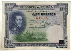 """100 peseta 1925 Spanyolország """"D"""" sorozat Kiváló"""