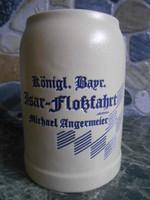 Korsó sörös kerámia német bajor 0,5 liter Isar Flossfahrt