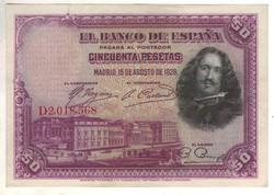 """50 peseta 1928 Spanyolország """"D"""" sorozat Kiváló"""