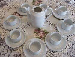 Retro, fehér teás készlet