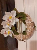 Tavaszi húsvéti koszorú ajtóra 22 cm átmérő, liliom / orchidea