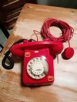 Tárcsás telefon piros,retro