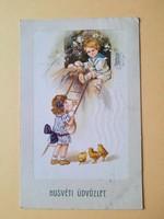 Antik levelezőlap, képeslap, húsvéti üdvözlőlap, 1915