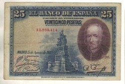 """25 peseta 1928 Spanyolország """"A"""" sorozat 7.780.000 alatti Ritka!"""