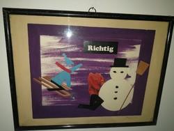 """Bálint Endre : """"Richtig"""" - kollázs, keretezett, modern, akár 1 forintért."""