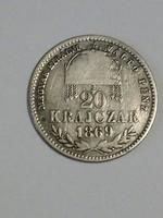 F. J. 20.krajcár.1869.gy.f.