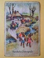 Antik levelezőlap, képeslap, húsvéti üdvözlőlap, 1944