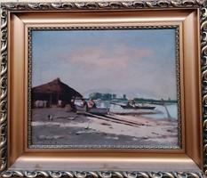 Pörge Gergely (1858-1930) Dunai Halászok c  Nagymeretű festménye