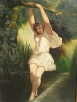 Jó kvalitású ,különleges témájú XIX.századi festmény