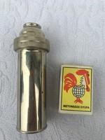 Orvosi üveg fecskendő Eredeti Kígyós fém tartóval - tokkal - injekciós tű - Vintage