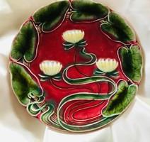 Szecessziós majolika tányér