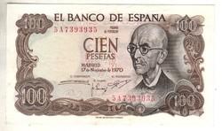 100 peseta 1970 Spanyolország kiváló