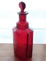 Antik rubinüveg patikaüveg bíbor gyógyszertári régi dugós palack