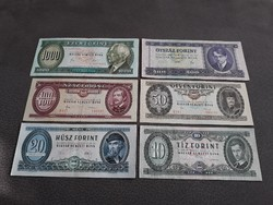 10, 20, 50, 100, 500, 1000 Ft - Régi, papír bankjegyek - Forint sor - régi magyar papírpénzek eladók