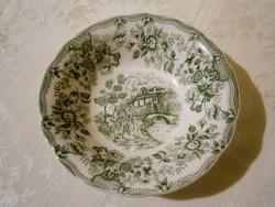 F_041 Ironstone jelenetes Angol porcelán mély tálaló tál, tányér zöld
