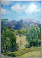 Bráda Tibor akvarell! Nagybányai tájkép, sétáló alakkal! 70x50cm! Hibátlan állapotban!
