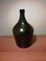 Nagy méretű sötét zöld boros üveg, demizson