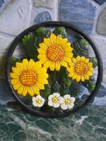 Edényalátét tányéralátét öntöttvas napraforgós kerek 17,5*1,5 cm