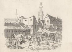 Sopron, pest..Bratislava .... 1847 Antique engraving