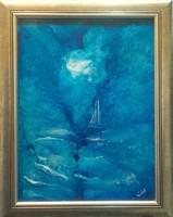 Kék tó. 40x30cm + a keret, műteremből. Károlyfi Zsófia Prima díjas alkotó műve.