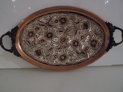 Copper - copper - engraved - old - tray - 22 x 15 cm + 3 - 3 cm - ears - beautiful - flawless