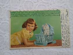 Vintage francia képeslap, kislány cica, 1950-es évek