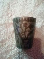 Ötös vizsgamunka antik ón pohár kb 2dl-es cizellált mestermunka