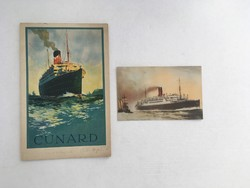 Cunard Line hajótársaság, R.M.S. Tuscania óceánjáró, tengerjáró utaslista, 1930. + korabeli képeslap