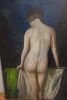 """""""Női akt"""" Gombos Székely Lili jjl. olaj-vászon. A festmény mérete 130x90cm."""