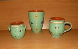 Mázas kerámia tárgyak, 3 db egyben váza, köcsög, szilke