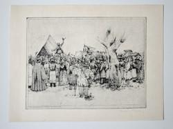 """Kovács Imre """" Kossuth toborzóbeszéde Szegeden 1848. október 4-én """" rézkarc"""