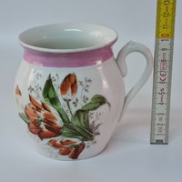 Piros tulipánmintás, hasas porcelán bögre (1506)