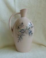 Régi jelzett, halvány rózsaszín porcelán olajkiöntő oliva ágakkal